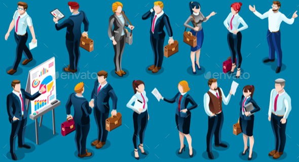GraphicRiver Isometric People Business Group Icon 3D Set Vector Illustration 21159787