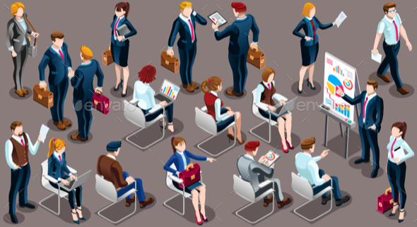 Isometric People Businessmen 3D Icon Set Vector Illustration - People Characters
