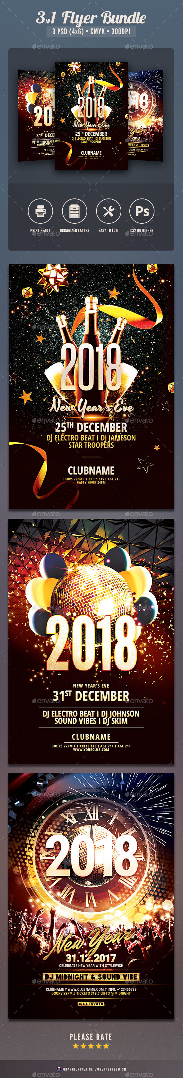 GraphicRiver New Year Flyer Bundle Vol.12 21159824