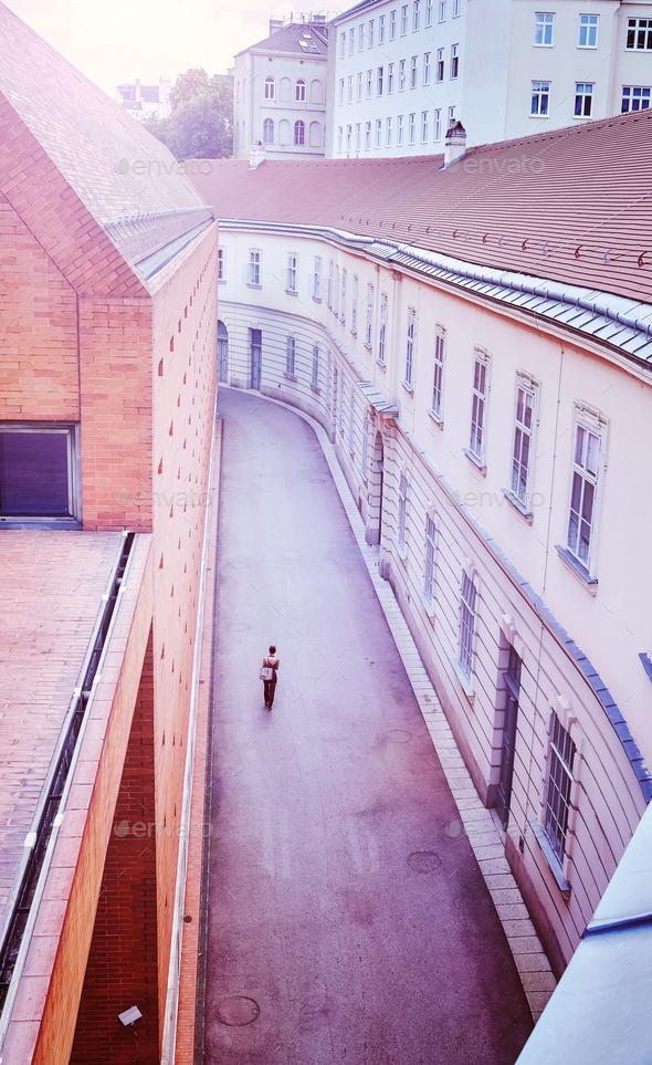 Narrow street in Vienna, Austria. - Stock Photo - Images