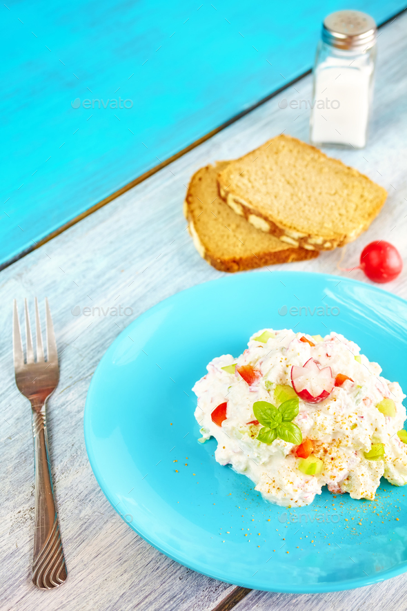 Homemade breakfast set with cottage cheese. - Stock Photo - Images
