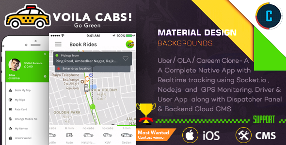 CodeCanyon Taxi Booking Script A Complete Clone of UBER with User Driver & Backend CMS Coded with Native iOS 21159987