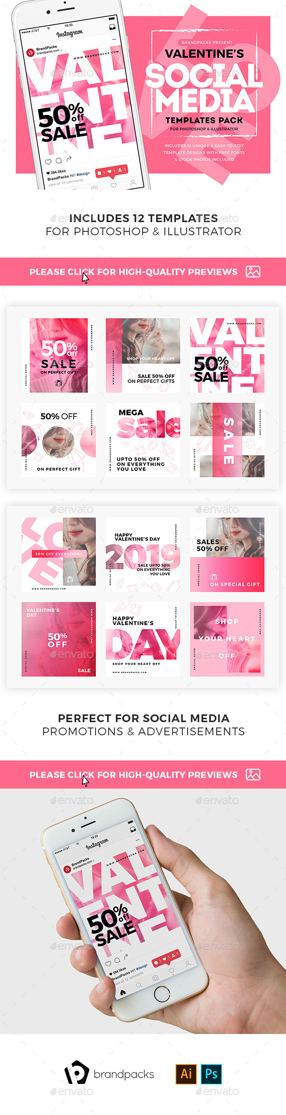 GraphicRiver Valentine's Day Social Media Templates 21160039