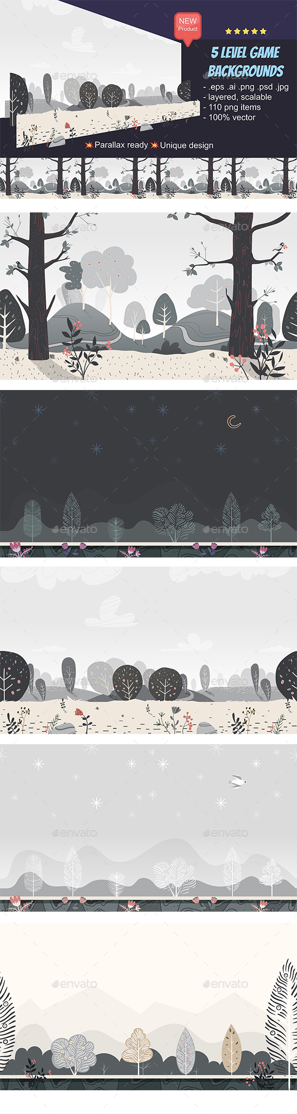 GraphicRiver 5 Seamless Game Backgrounds 21160042