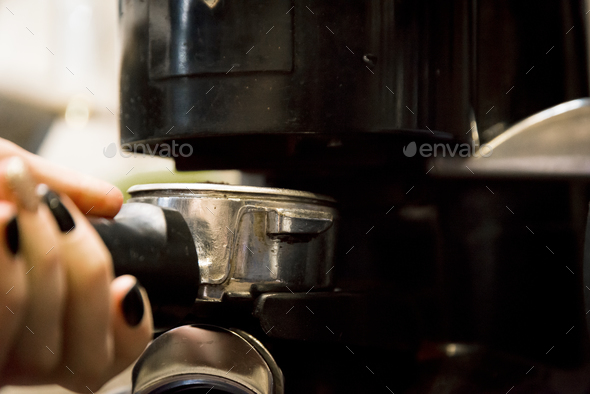 preparing coffee in automatic coffee machine - Stock Photo - Images