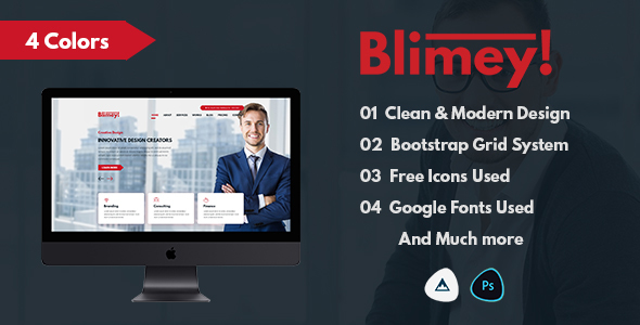 ThemeForest Blimey Single Page Corporate PSD Template 21160111