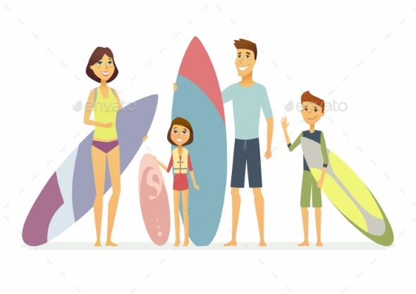 GraphicRiver Family Goes Surfing Cartoon People Characters 21160363