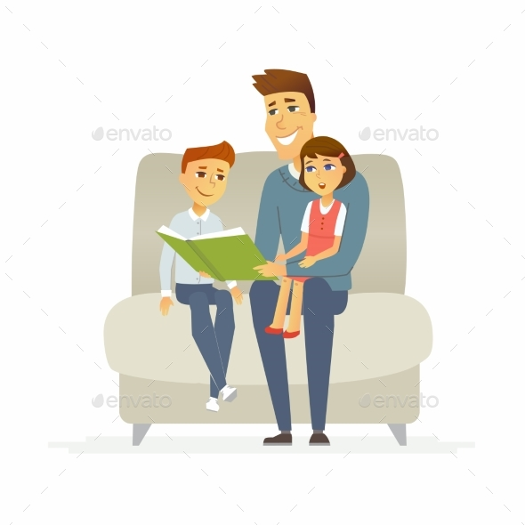 GraphicRiver Father Reads a Fairytale Cartoon People 21160366