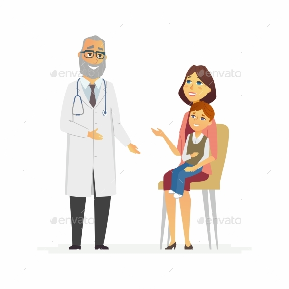 Mother with Son at Doctors - Cartoon People - Health/Medicine Conceptual