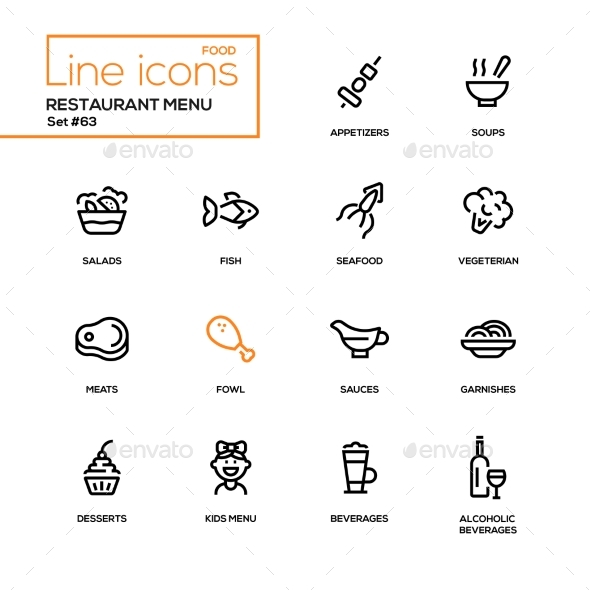 GraphicRiver Restaurant Menu Line Design Icons Set 21160374