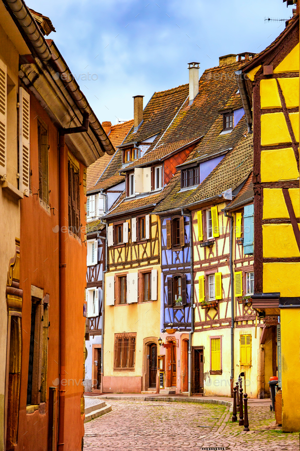 Colmar, Petit Venice, narrow street and traditional houses. Alsa - Stock Photo - Images