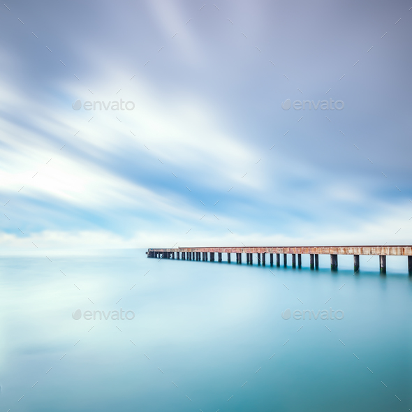Concrete pier or jetty on a sea. Marina di Carrara, Tuscany, Ita - Stock Photo - Images