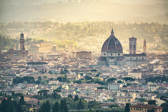 Florence aerial foggy cityscape. Panorama view from Fiesole hill - Stock Photo - Images