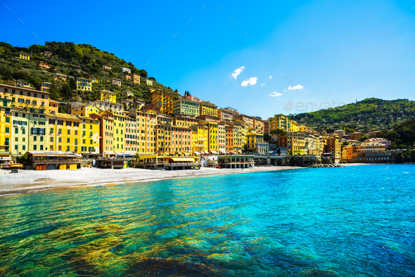 Camogli beach and typical colorful houses. Ligury, Italy - Stock Photo - Images