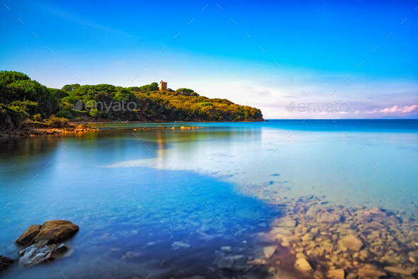 Punta Ala sea, wild beach bay. Maremma Tuscany, Italy Europe - Stock Photo - Images