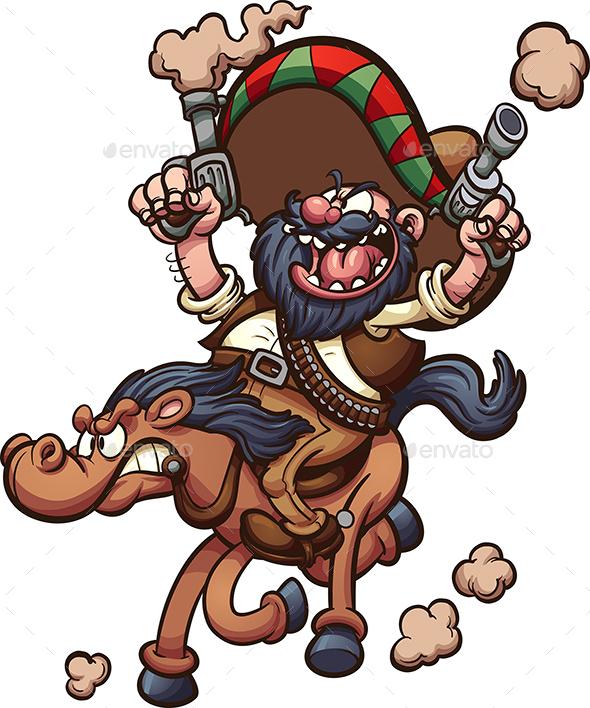 GraphicRiver Mexican Cowboy Riding a Horse 21160876