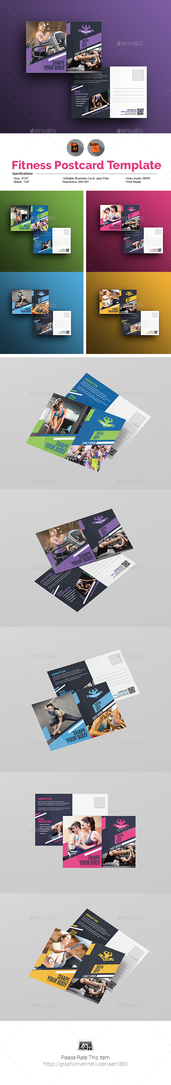 Sports | Fitness | Gym Postcard Template - Cards & Invites Print Templates