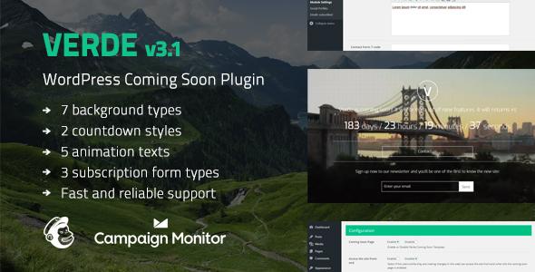 Verde - Responsive WordPress Coming Soon Plugin by CreaboxThemes ...