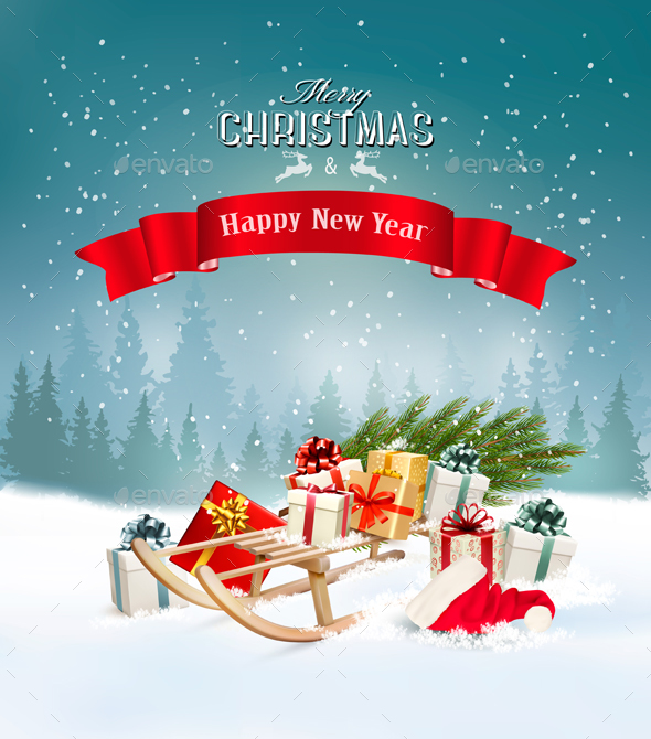 GraphicRiver Christmas Holiday Background and Presents 21161239