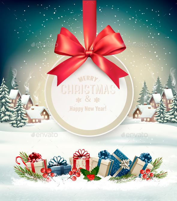 GraphicRiver Christmas Holiday Background with Presents and Gift Card 21161252