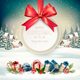 Christmas Holiday Background with Presents and Gift Card