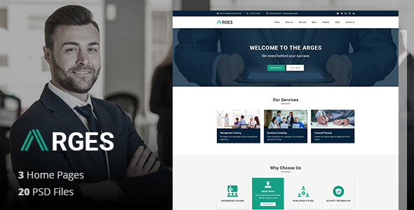 ThemeForest Arges Corporate Business Professional and Consulting Services PSD Template 21161589