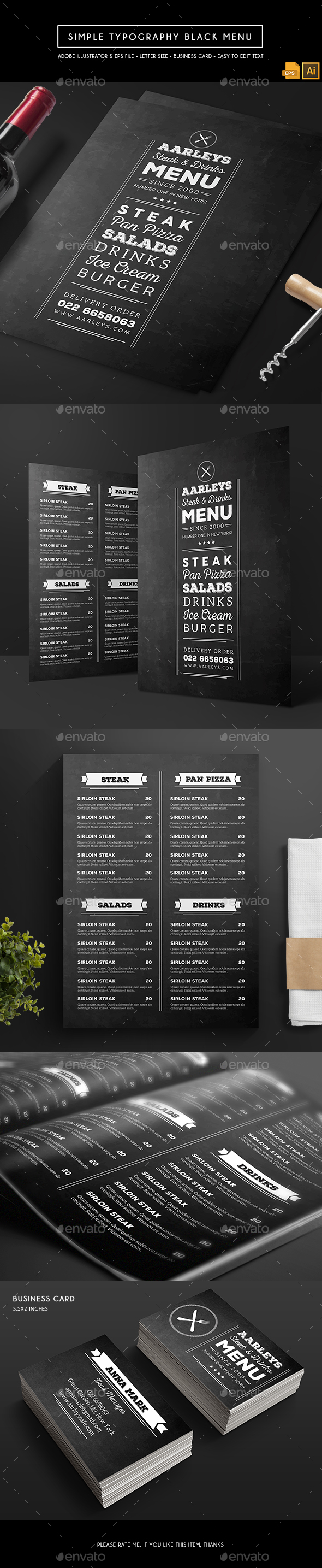 GraphicRiver Simple Typography Black Menu 21161752