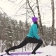 Girl Warm-up in Winter on Nature Mat for Yoga - VideoHive Item for Sale