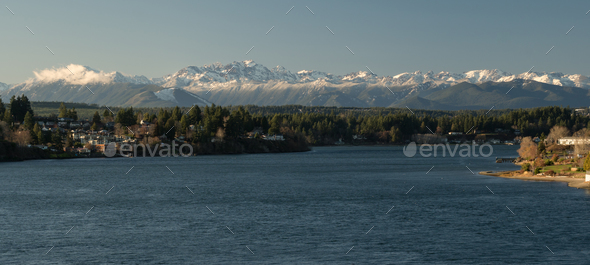 Olympic Mountains Puget Sound Bremerton Washington - Stock Photo - Images