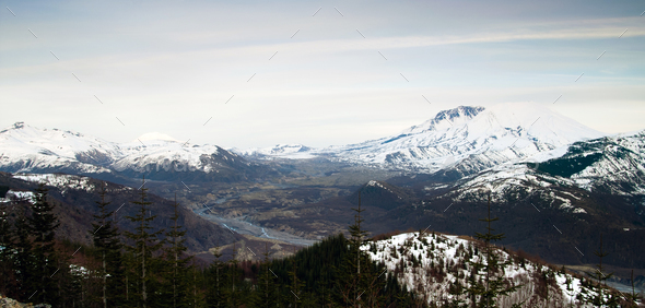 Mount St Helens Mount Adams Skamania County Washington State - Stock Photo - Images