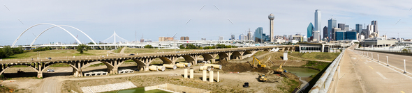 Trinity River Bridges Contruction Dallas Texas Transportation Road - Stock Photo - Images