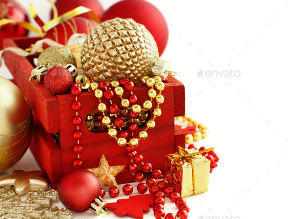 Red and golden festive christmas decorations - Stock Photo - Images