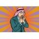 Arab Businessman Surprised, Emotional Reaction