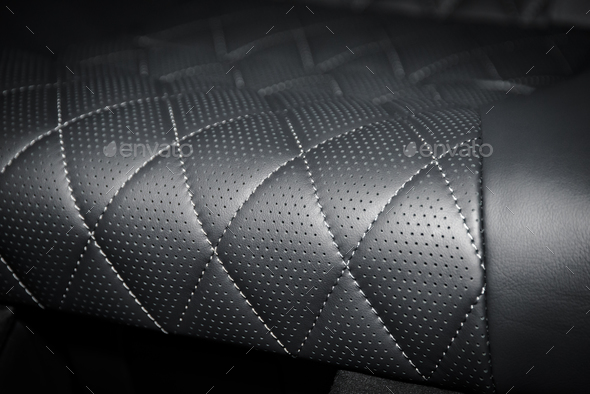 Black perforated leather interior details - Stock Photo - Images