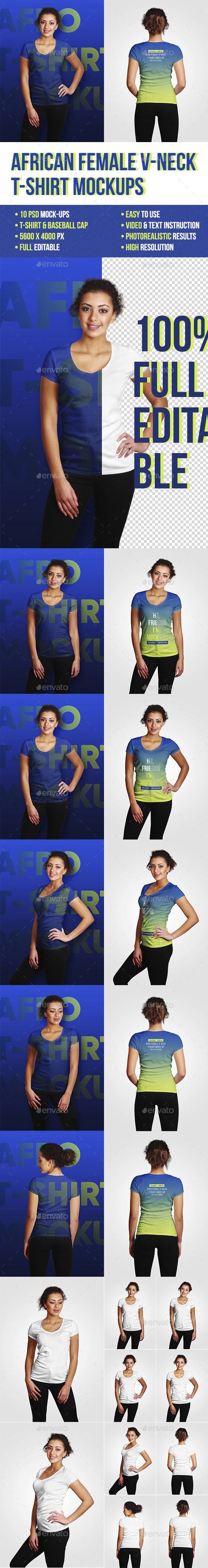 GraphicRiver African V-Neck Female T-Shirt Mockups 21162391