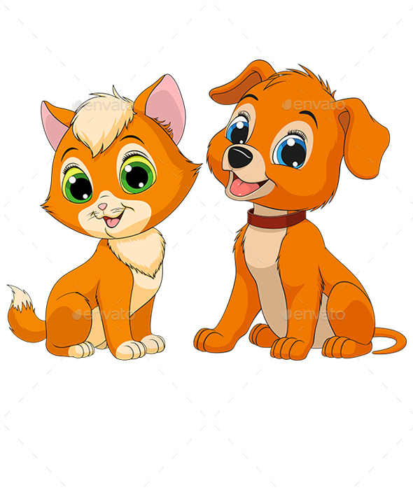 Kitten and Puppy - Animals Characters