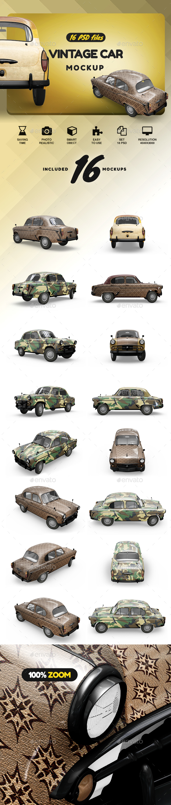 Vintage Car Mockup - Vehicle Wraps Print