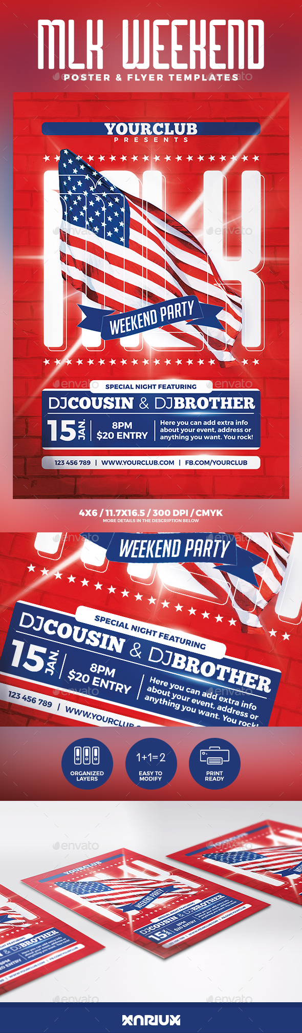 GraphicRiver MLK Weekend Party Flyer & Poster 21162430