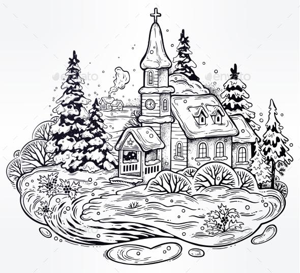 GraphicRiver Snowy Winter Festive Cityscape 21162559