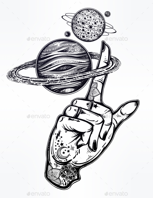 GraphicRiver Flash Style Inked Human Hand with Saturn Planet 21162617