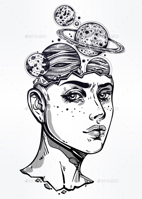 GraphicRiver Portriat of Girl with Head Planets Space Inside 21162650