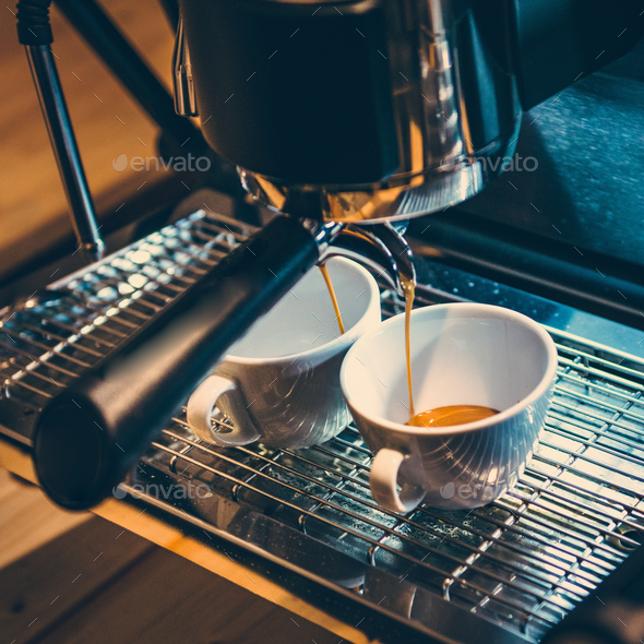 Italian espresso coffee machine - Stock Photo - Images