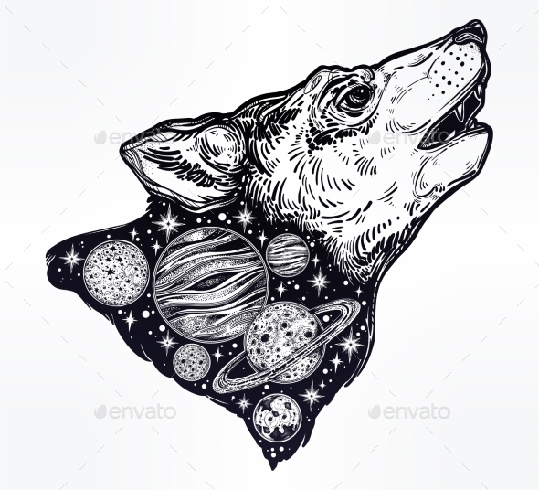 GraphicRiver Double Exposure Wolf Howling at Moon Outer Space 21162657