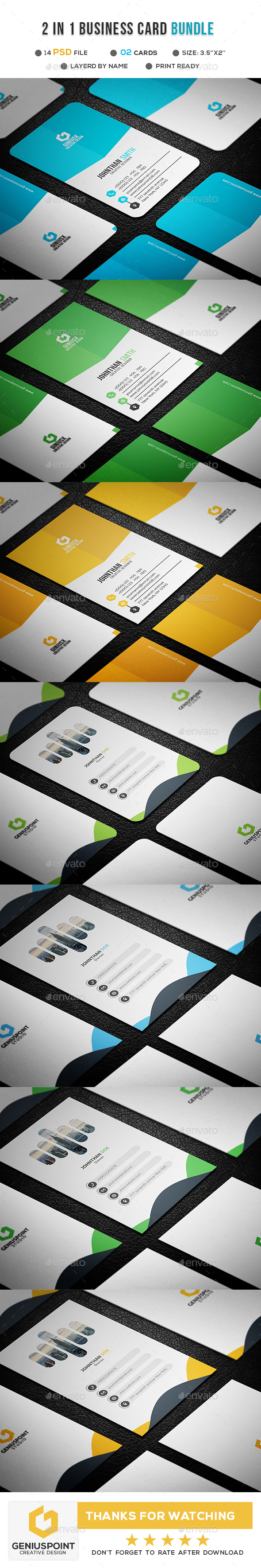 GraphicRiver 2 in 1 Business Card Bundle 21162762
