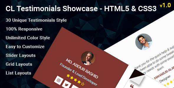 CL Testimonial - HTML Testimonial Showcase - CodeCanyon Item for Sale