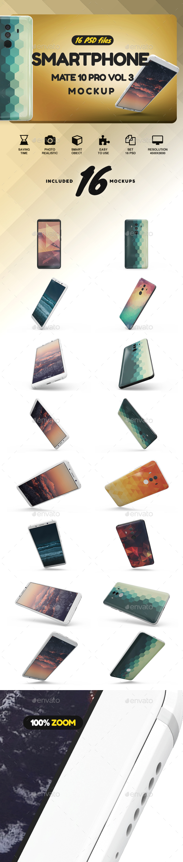 SmartPhone Mate 10 Pro vol3 App Mockup - Mobile Displays