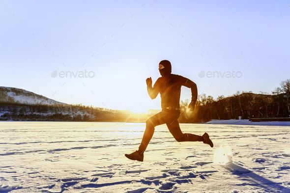 morning winter running - Stock Photo - Images