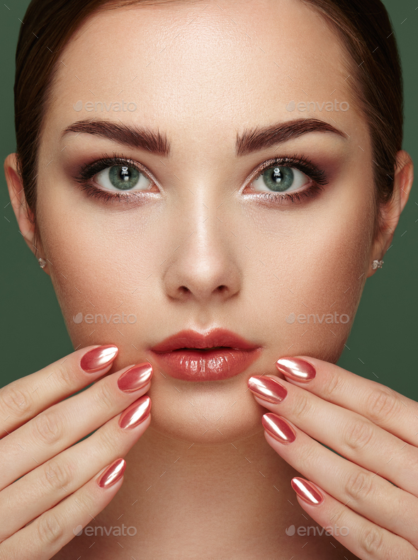 Beauty brunette woman with perfect makeup - Stock Photo - Images