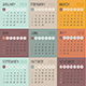 Calendar 2018 year colored squares. Week starts from Sunday - GraphicRiver Item for Sale