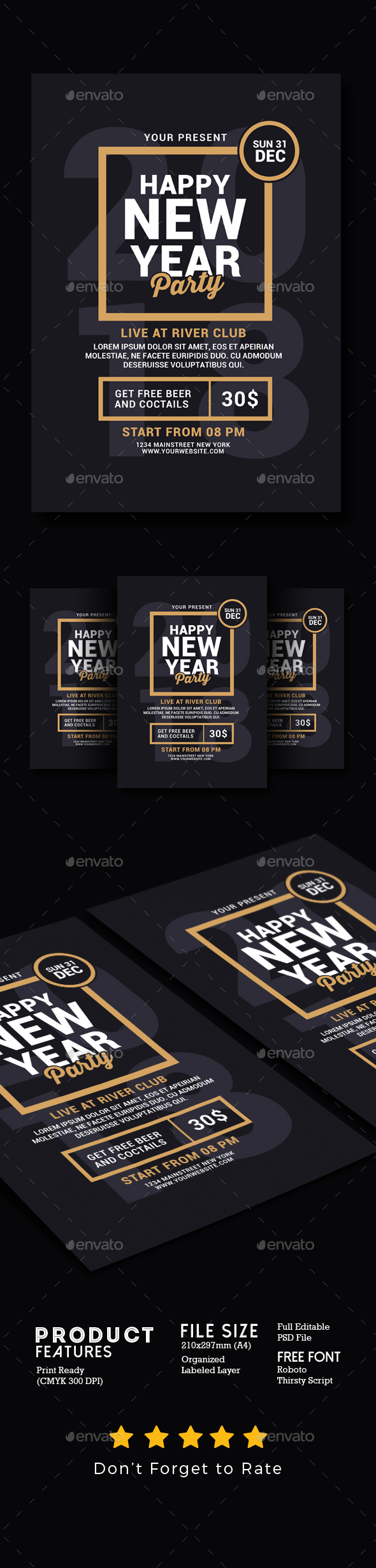 GraphicRiver New Year Party Flyer 21163344